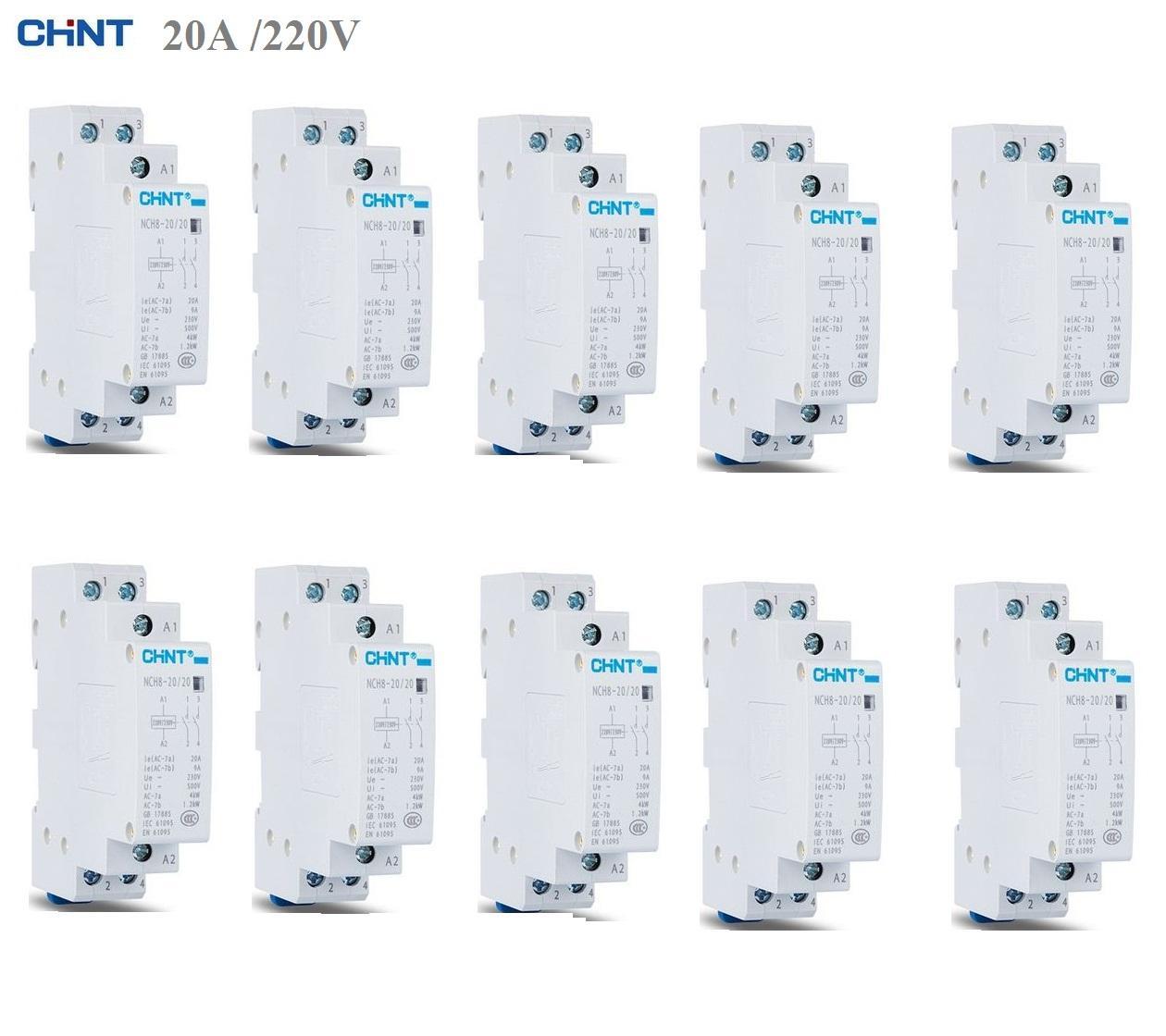 10 khởi động từ contactor CHINT 20A/220V (Trắng)