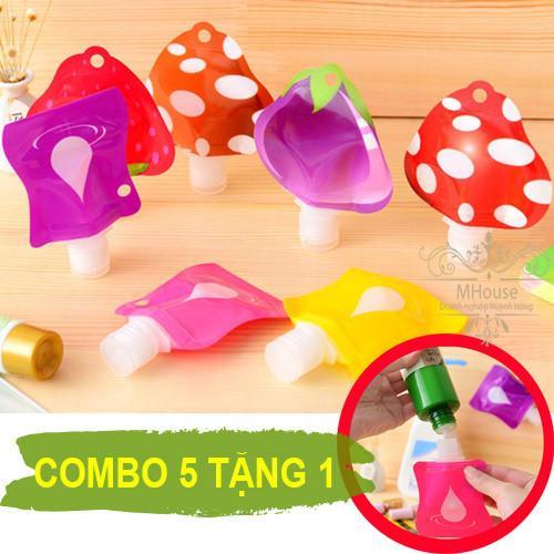 Hình ảnh Combo 5 Tặng 1. Túi chiết mỹ phẩm kem dưỡng hình trái cây ngộ nghĩnh