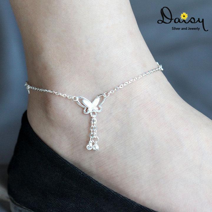 Lắc Chân Bạc, Lắc Chân, Lắc Chân Đẹp, Vòng Chân, Vòng Đeo Chân, Lắc Bạc Đẹp, Lắc Chân Bạc Nữ Cánh Bướm Chất Liệu Ta Thương Hiệu Daisy Jewelry