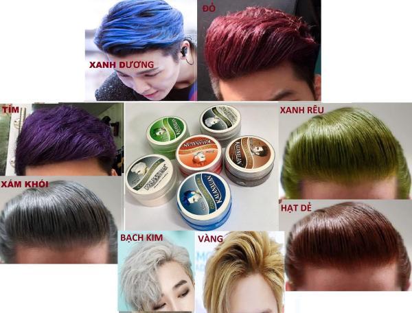 Sáp vuốt tóc tạo màu 8 màu hót nhất năm: xám khói, bạch kim, hạt dẻ, xanh dương, xanh rêu, màu đỏ, màu vàng, màu tím giá rẻ