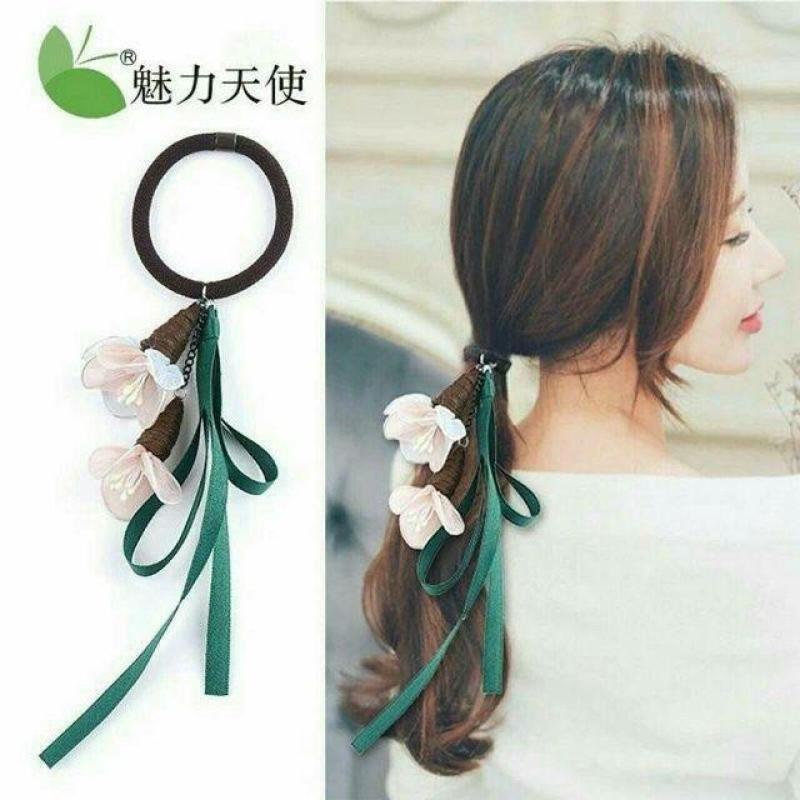 Dây buộc tóc xinh xắn - Dây buộc tóc Duy băng_Ren hoa nhập khẩu