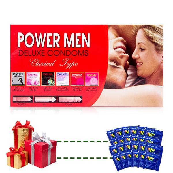 Bao cao su Powermen Gia đình (hộp 12 cái) tặng 24 gói gel VIP nhập khẩu