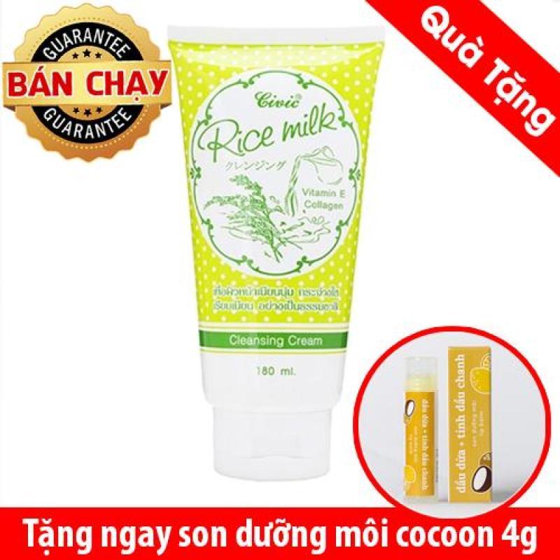 Sữa rửa mặt gạo Civic Rice Milk Thái Lan 180ml Tặng 1 son dưỡng nhập khẩu