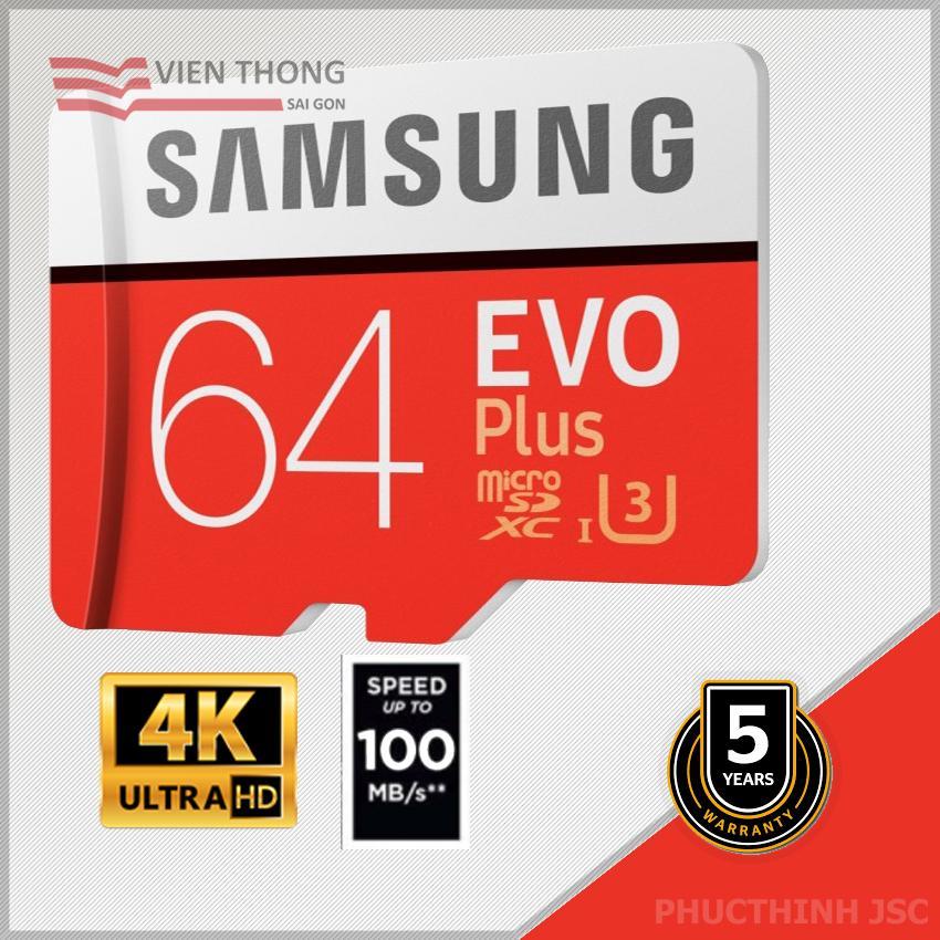 Thẻ nhớ 64gb Samsung EVo plus U3 MicroSDXC 100MB/s - Bảo hành 5 năm - 1 đổi 1