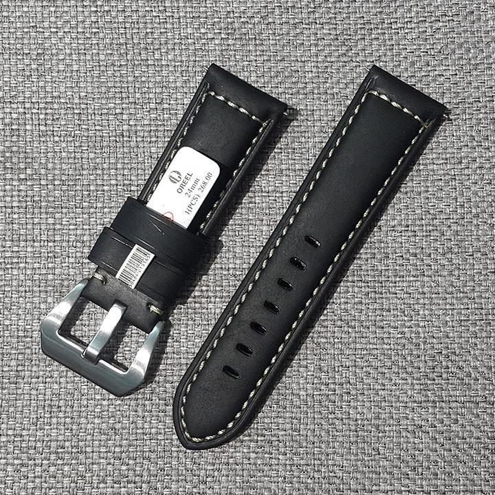 Hình ảnh Dây đồng hồ da bò, dây đồng hồ khóa kim size 24mm D1805