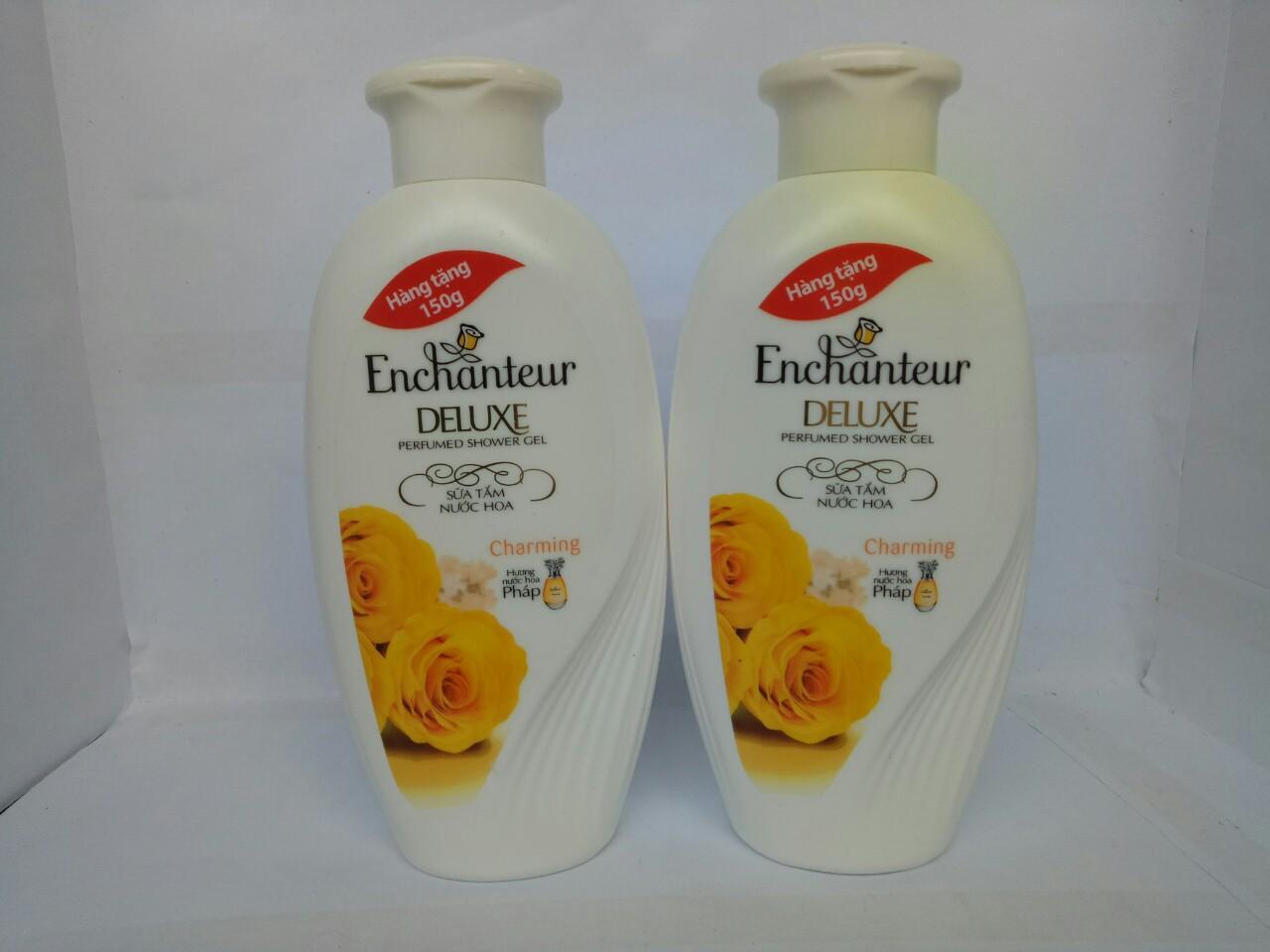 Combo 2 chai Sữa Tắm Trắng Và Dưỡng Ẩm có hạt Enchanteur Deluxe 150g + tặng 1 túi đựng mỹ phẩm nhập khẩu
