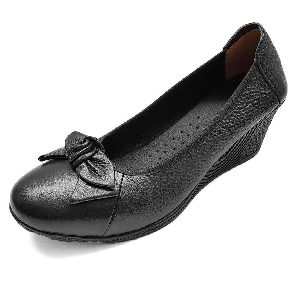 Giày Đế Xuồng Giày Cao Gót 5cm Da Bò Thật Siêu Mềm Evelynv 5P0116 (Đen - Kem - Nâu)