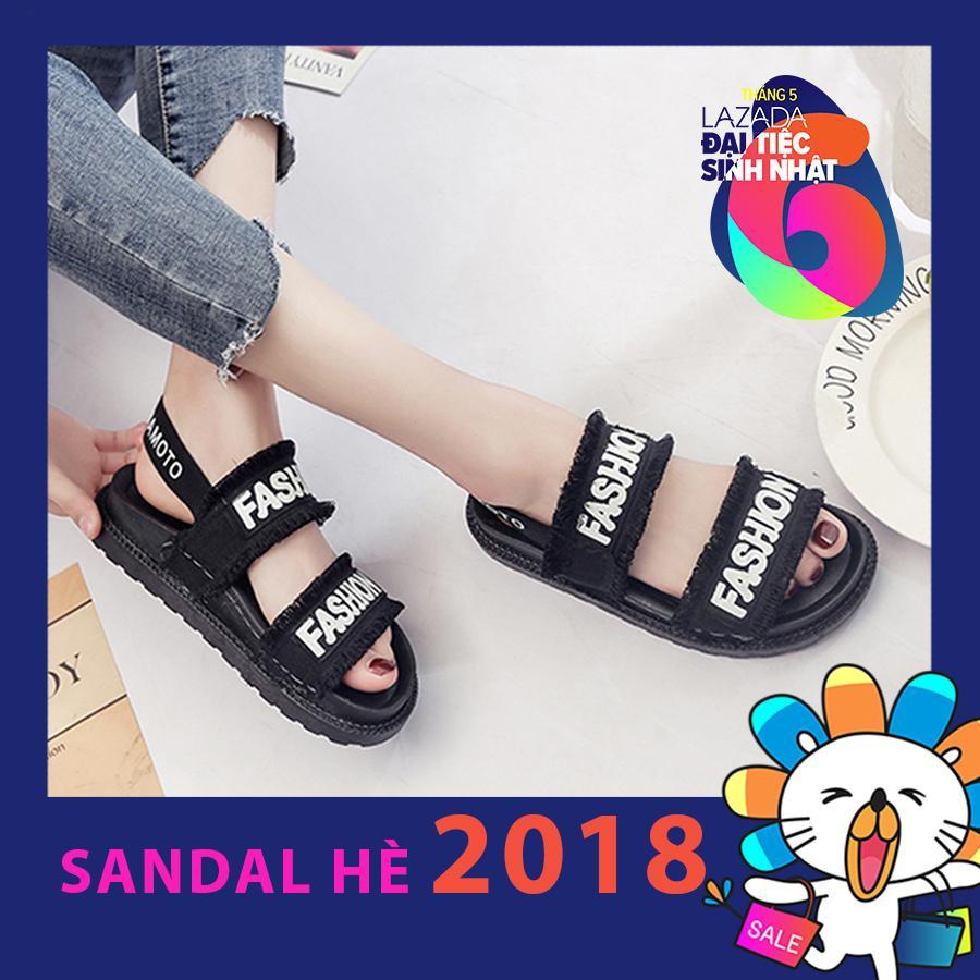 Giày sandal nữ quai ngang tua rua đế cao su dẻo dòng cao cấp SD399D (Đen)