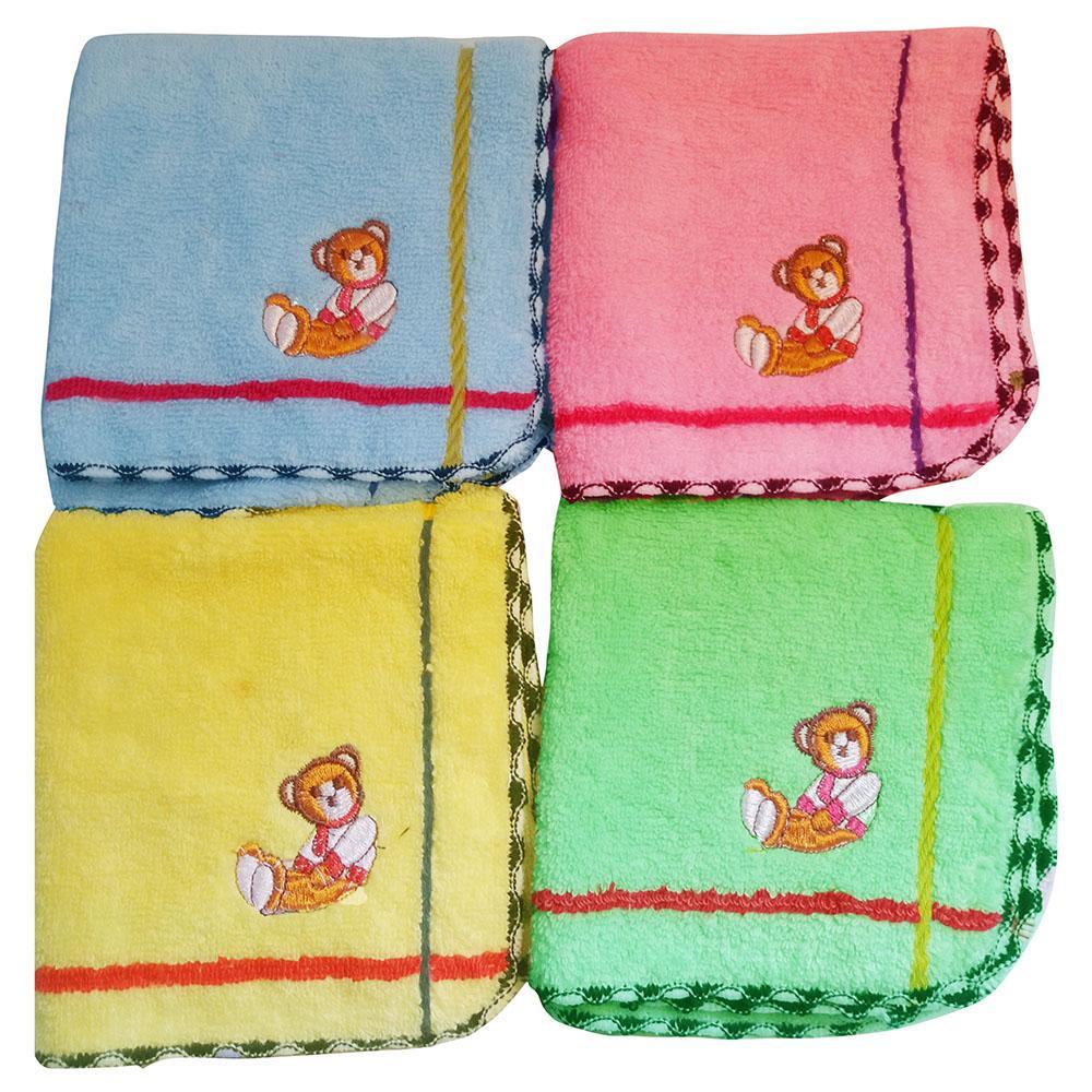 Bộ 4 khăn mặt trẻ em cao cấp 26x26cm hàng VNXK khăn baby thêu đẹp làng dệt Phùng Xá- Mỹ Đức chất lượng cao 100% cotton tự nhiên mềm mịn thấm hút tốt, món quà ý nghĩa cho mọi gia đình