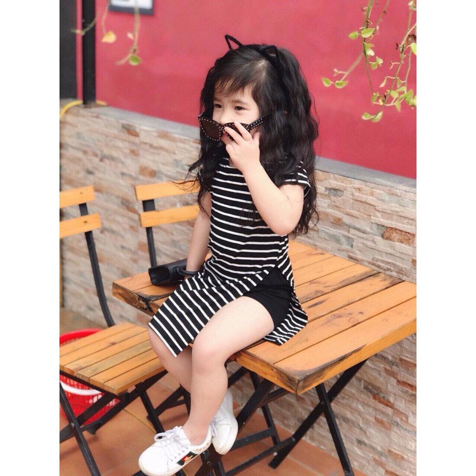 BỘ bé gái áo form dài xẻ tà quần sort đùi sang chảnh mùa hè