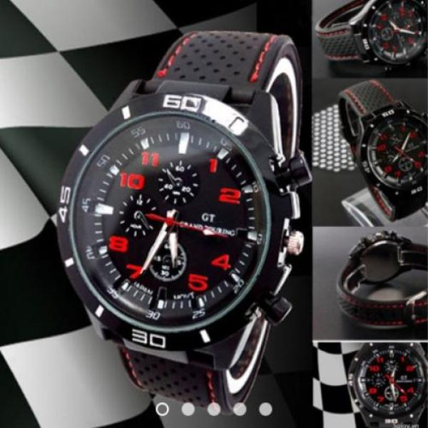 Nơi bán [HCM]Đồng hồ nam dây silicon cá tính (Đen phối đỏ)