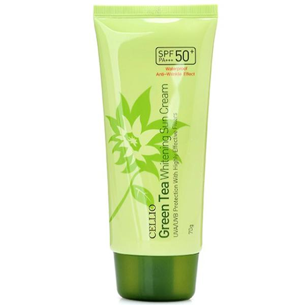 Kem chống nắng Cellio Green Tea Whitening Sun Cream SPF50+ PA+++ Hàn Quốc 70ml cao cấp