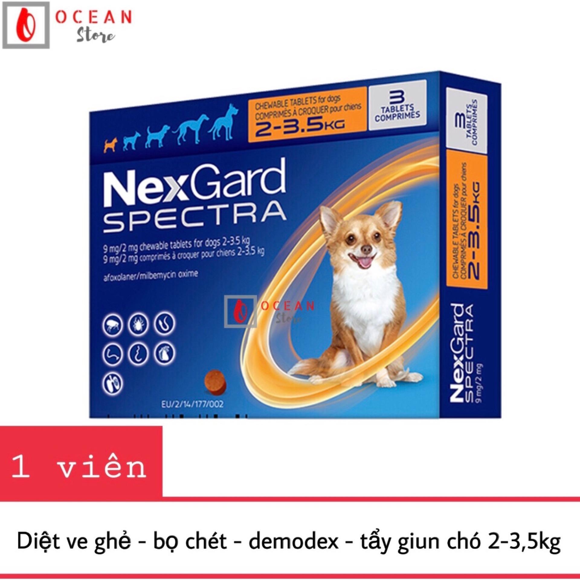 Thuốc trị ve ghẻ, bọ chét, demodex, tẩy giun cho chó - 1 viên Nexgard Spectra cho chó 2-3,5kg (1 tablet 2-3,5kg - No Box) Nhật Bản