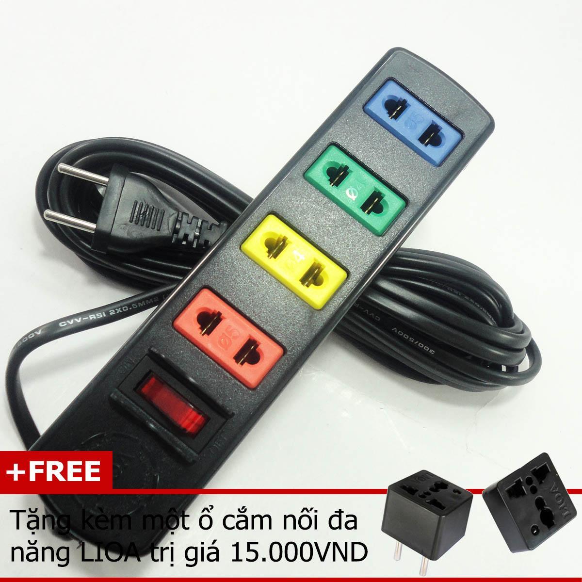 Ổ cắm điện LIOA công suất 1000w/6A 4TS3-2 (Tặng kèm một ổ cắm điện đa năng LIOA) giá rẻ
