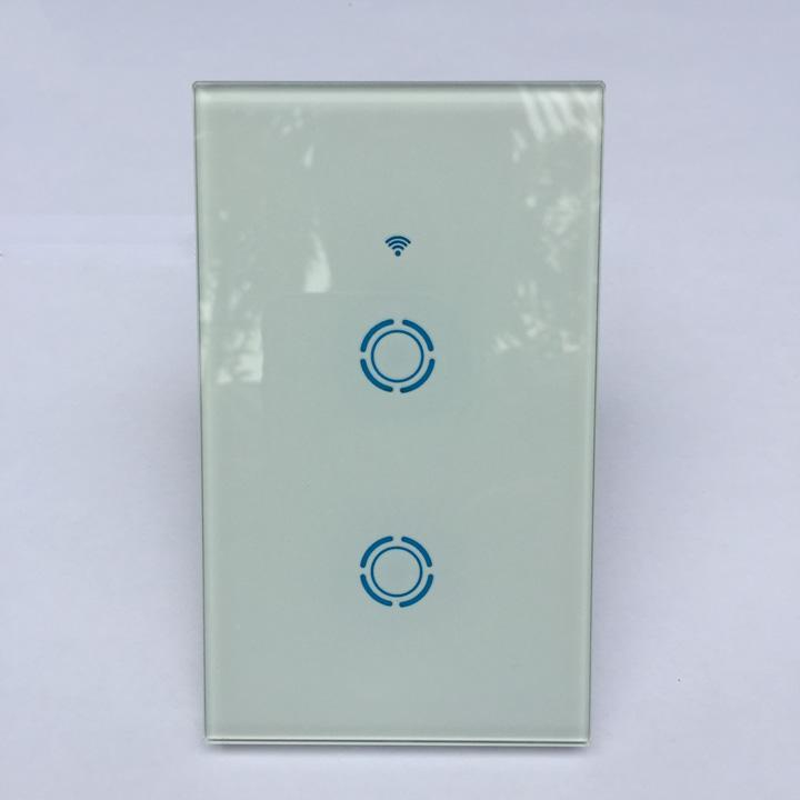 Công tắc cảm ứng âm tường hỗ trợ điều khiển qua mạng wifi cho nhà thông minh [Chuẩn US - 2 Nút Blue]