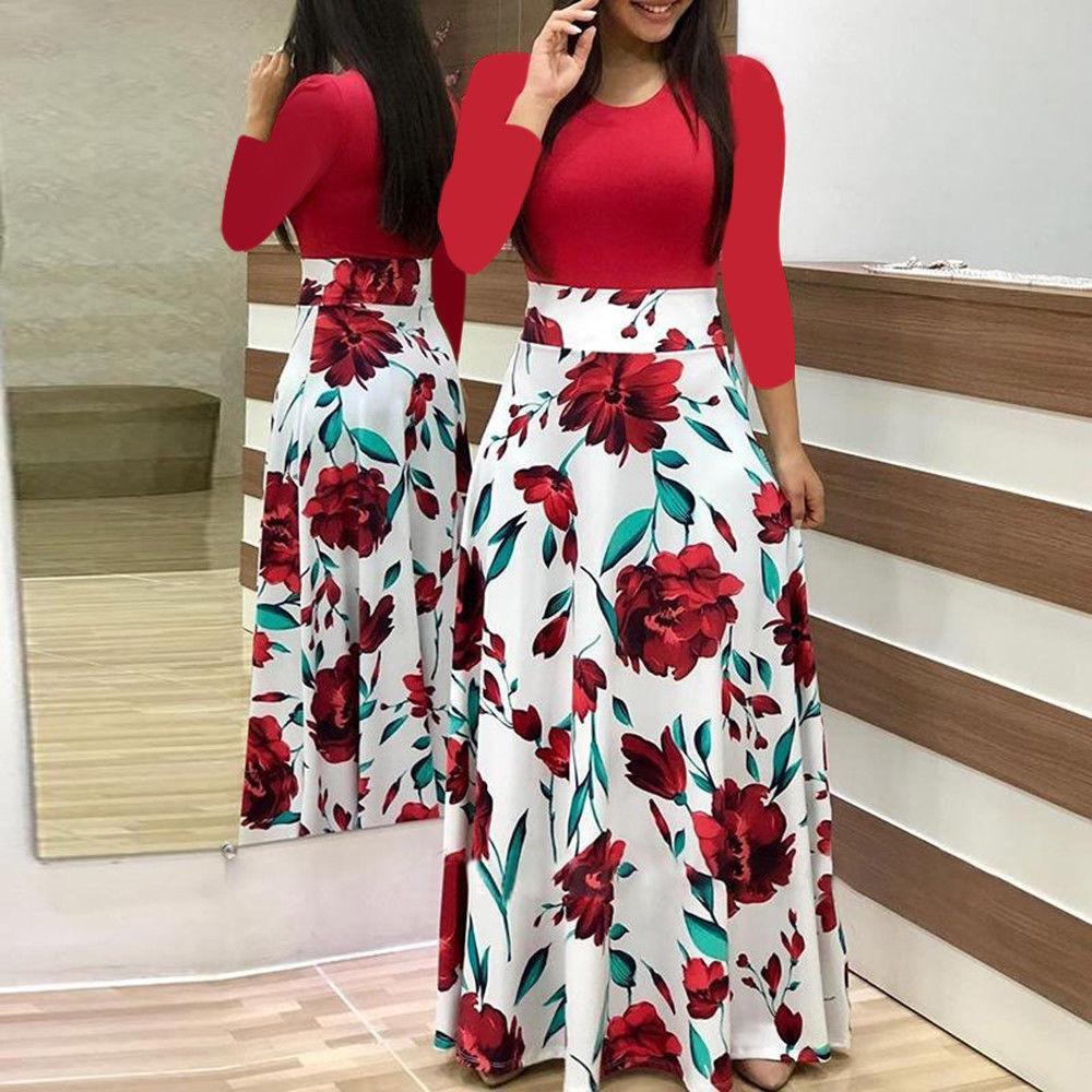 Los Fashion Wanita Lengan Panjang Floral Boho Cetak Lama Maxi