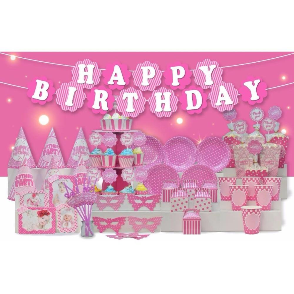 Hình ảnh set bàn tiệc sinh nhật chủ đề màu hồng