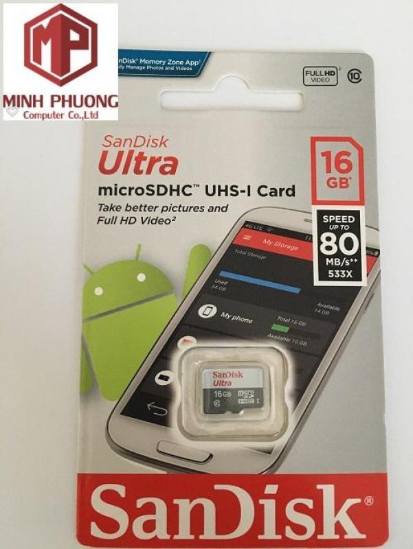 Thẻ nhớ 16G SanDisk Ultra Class 10 80Mb/s chuẩn Dành cho Camera Bảo hành 5 năm