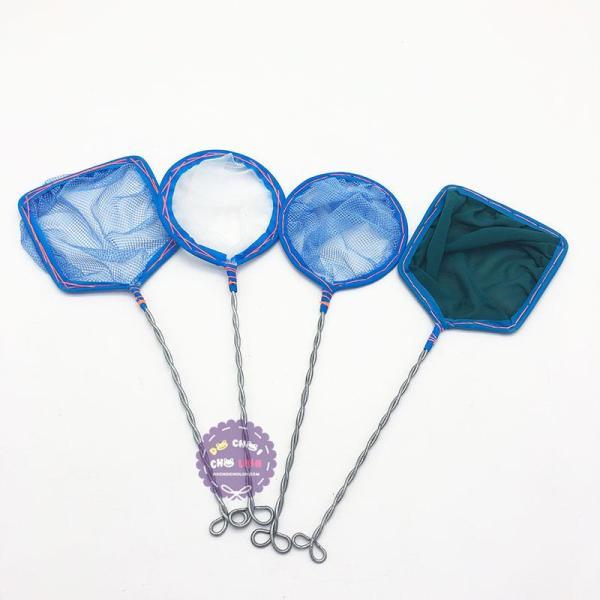 Compo 4 cây vợt bắt cá vuông, tròn cán dài 27 cm
