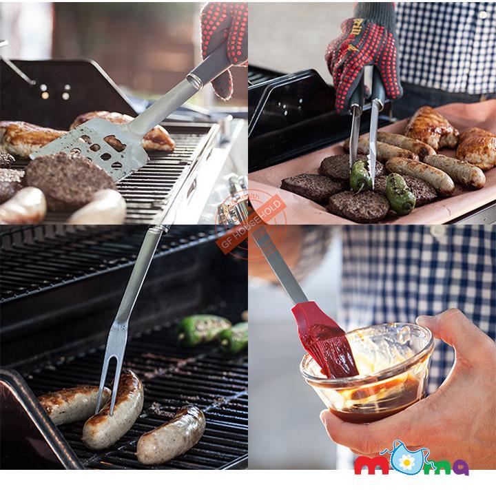 Combo trọn bộ 04 dụng cụ, đồ dùng làm bếp nướng bánh, thịt, hải sản, pizza BBQ thép không gỉ, chống dính cao cấp MARX_HK015