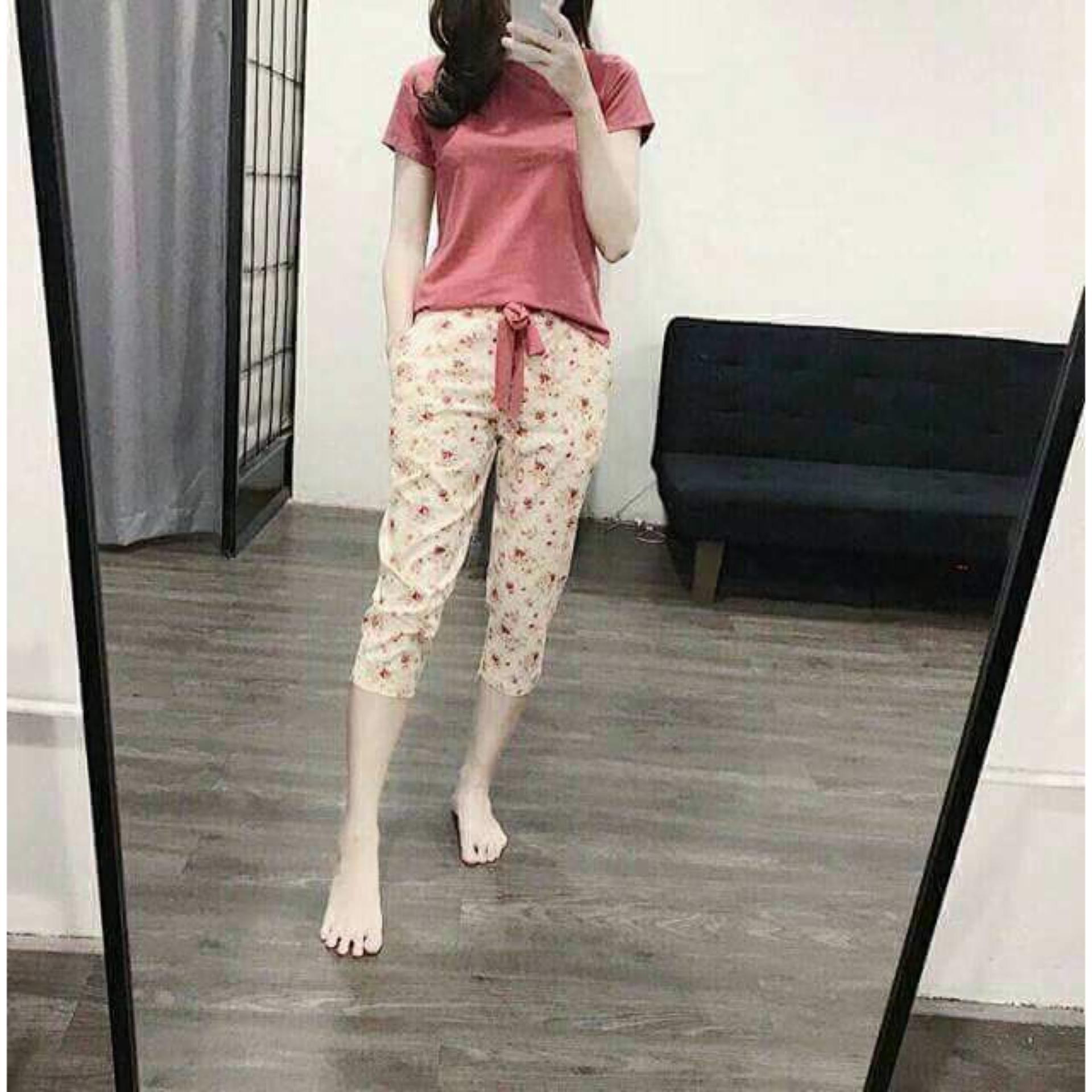 Hình ảnh Bộ mặc nhà áo cotton quần thô thái(bao chất)