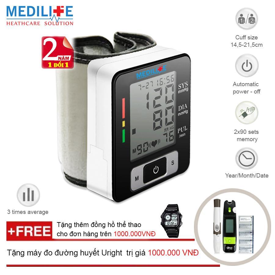 Hình ảnh Máy Đo Huyết Áp Cổ Tay Tự Động Công nghệ Kỹ Thuật Số Medilife MBP - U60C + Tặng máy đo đường huyết Uright TD - 4265 + Mua 2 sản phẩm cùng loại tặng thêm đồng hồ thể thao (OEM)