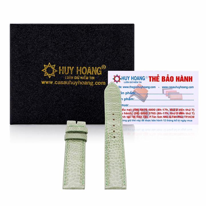 TH8405-18 - Dây đồng hồ da đà điểu size 18 màu xanh lá bán chạy