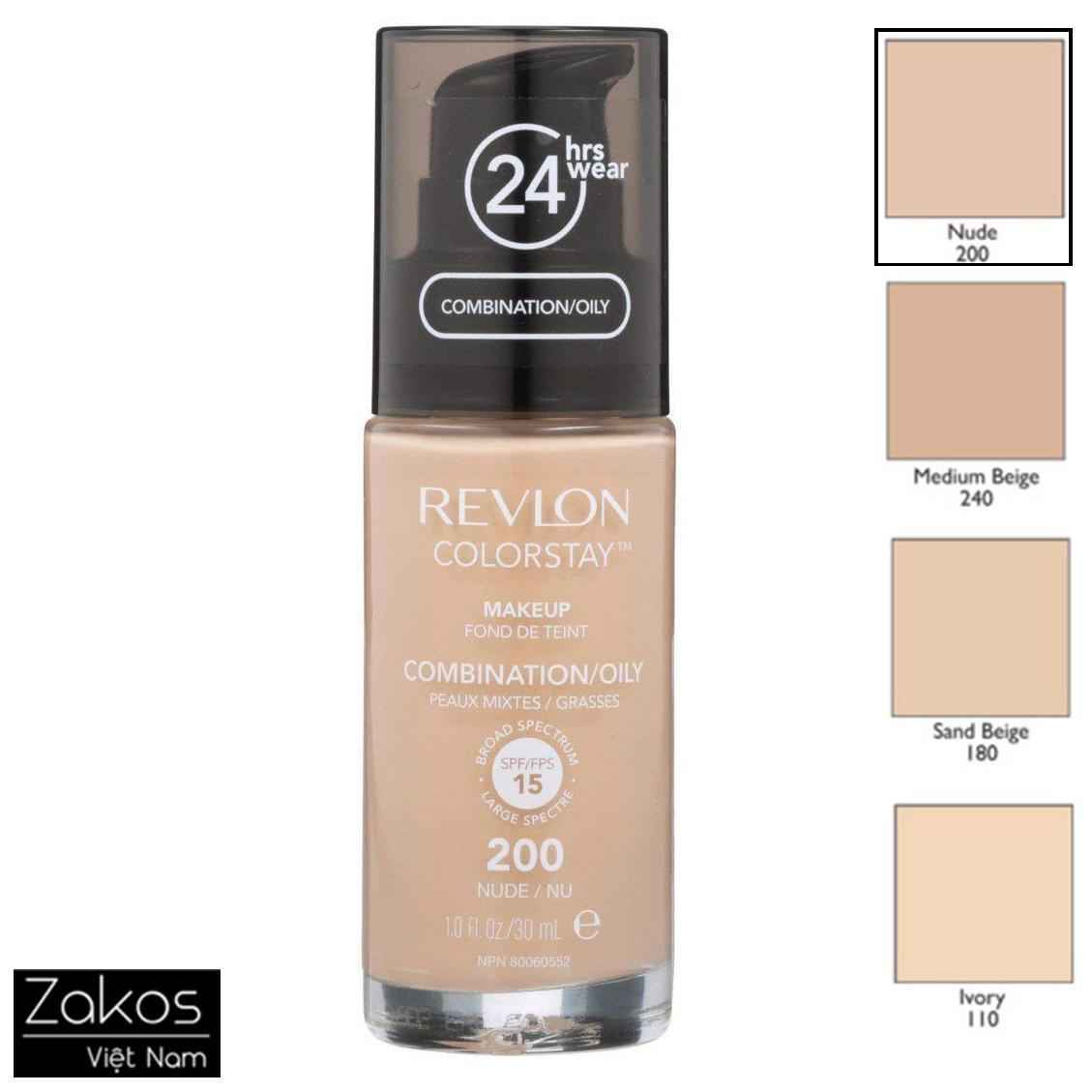 Kem Nền Dành Cho Da Dầu Revlon ColorStay 24hrs Makeup Oil 30ml - Kiềm dầu suốt 24h, Mỏng nhẹ, che phủ tốt tốt nhất