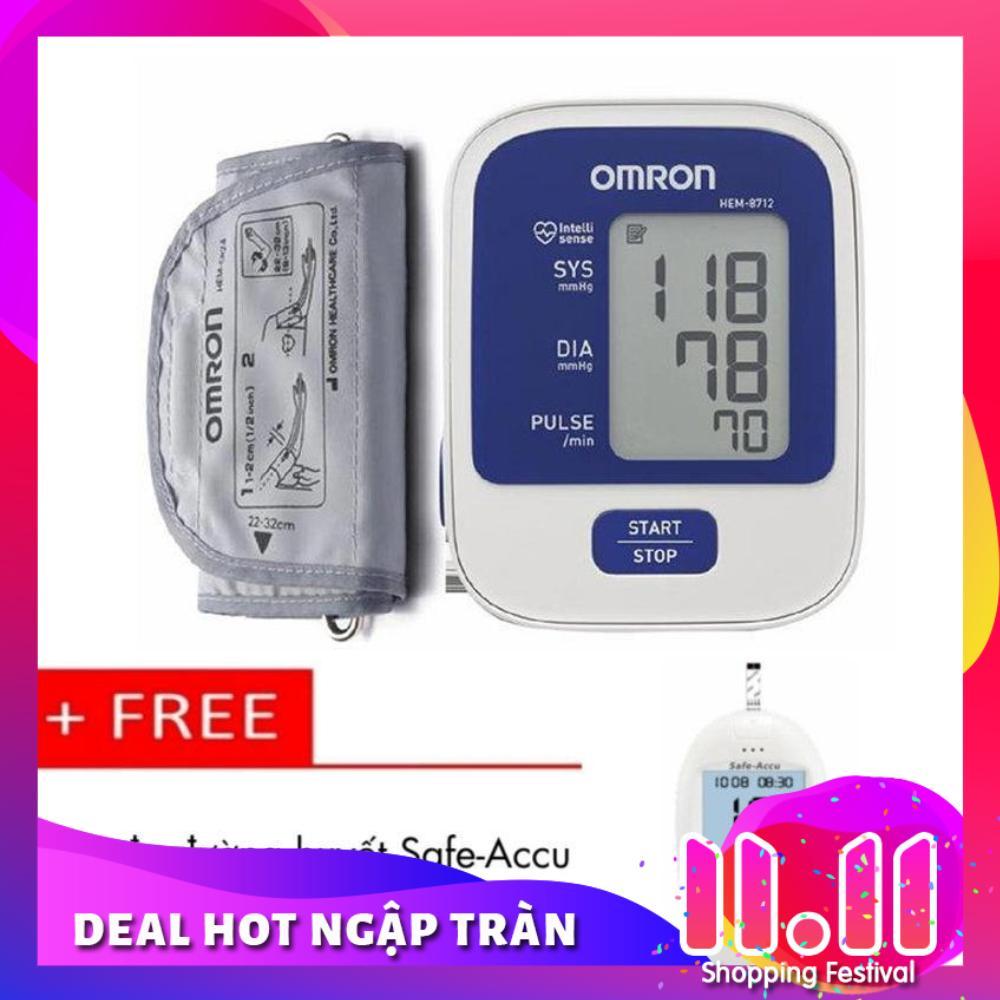 Máy đo huyết áp bắp tay Omron HEM-8712 (Trắng phối xanh) + Tặng Máy đo đường huyết Safe-Accu