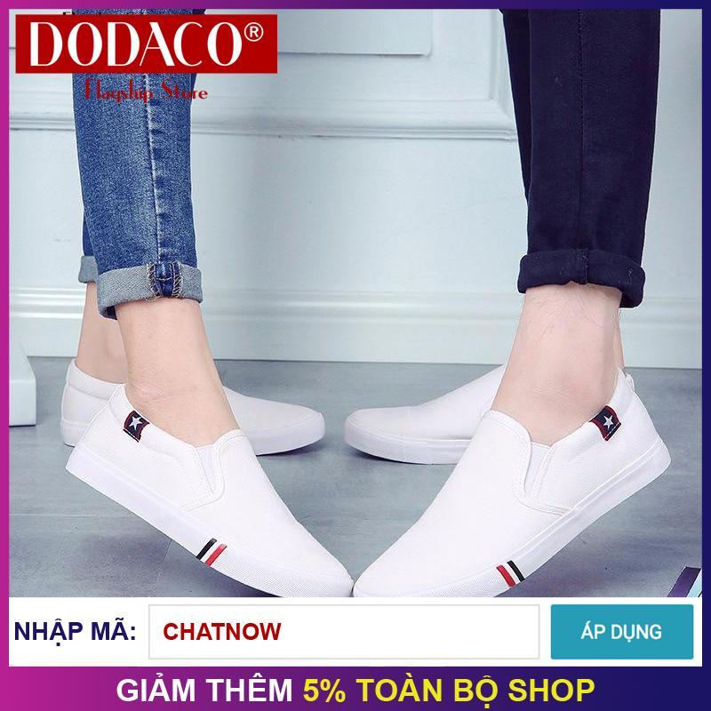 Hình ảnh Giày lười vải cặp nam nữ unisex thời trang DODACO TTS0019 - 6601 (Đen Trắng Xanh)