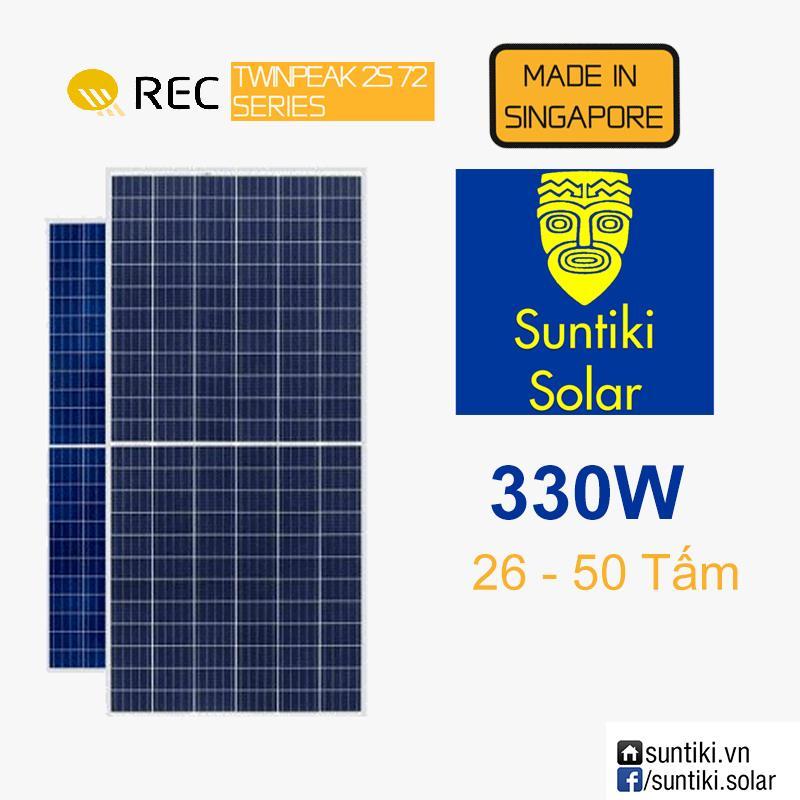 Tấm pin năng lượng mặt trời REC 72 cell (Solar Panels) 330W (26 - 50  tấm)