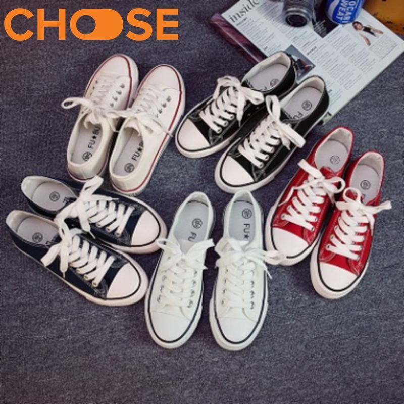 Giày Thể Thao Nữ/Giày Vải Màu Trắng Đen Đỏ Phong Cách Cực Cool Hàn Quốc 0201
