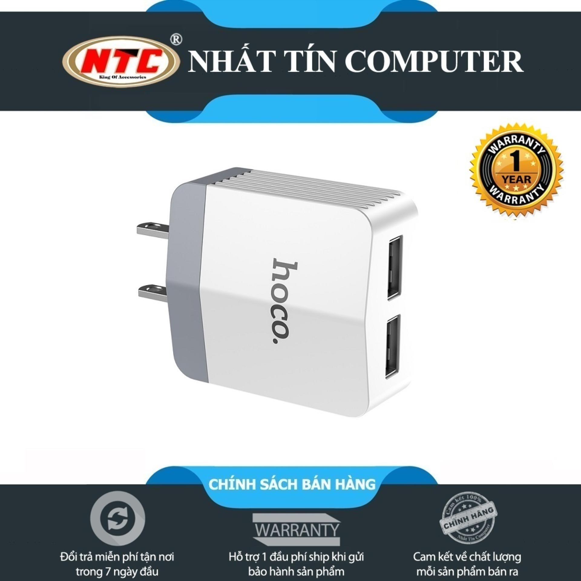 Cốc sạc 2 cổng hoco C13B Dual USB Rapid - Output 3.4A (Trắng) - Hãng phân phối chính thức