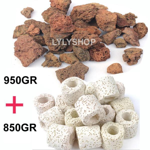 Combo ĐÁ NHAM THẠCH (950GR) + SỨ VIÊN LỌC (850GR) vật liệu lọc, trang trí bể cá