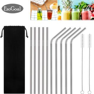 Esogoal Stainless Steel Straws Metal Reusable Drinking Straw ,Set Of 10 Extra Long 8.5 With 2 Cleaning Brushes Carry Bag Rustproof Bendable For 20oz 30oz Tumblers Cold Beverage thumbnail
