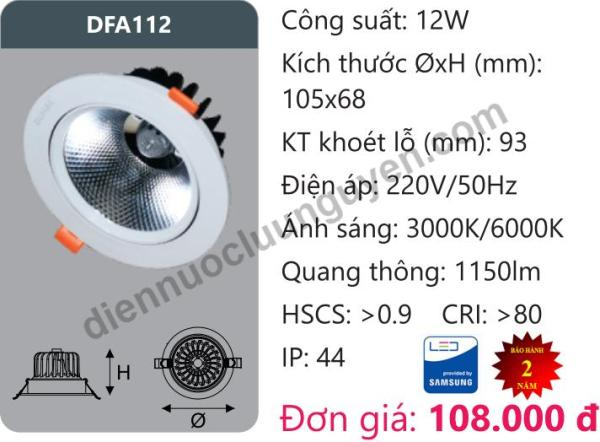 Đèn Led âm trần Downlight Tán Quang Chiếu Sâu 12W DUHAL DFA112