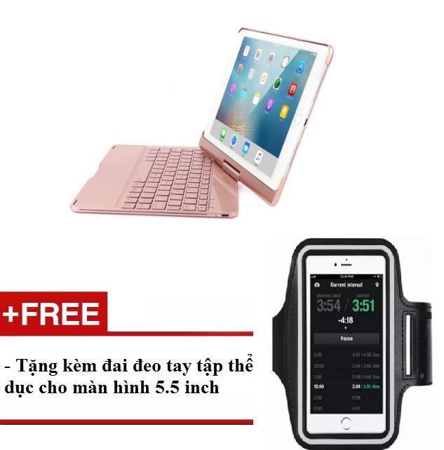 Bàn phím Bluetooth xoay 360 độ for iPad Air, Air 2, iPad Pro 9.7, New iPad 2017 tặng kèm đai đeo tập thể dục 5.5 inch.