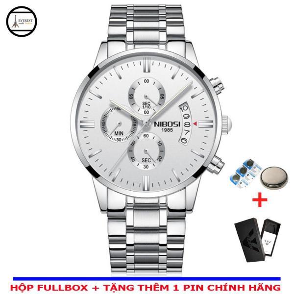 Đồng hồ nam Nibosi 1985 dây đúc, thép không gỉ (dây trắng-mặt trắng) bán chạy