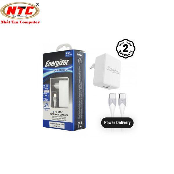 Bộ cốc sạc 2 cổng Energizer 30W PD18W 1 cổng Type-C và 1 cổng USB kèm cáp USB 2 đầu Type-C - AC11PFEUUCC3 (Trắng) - Hãng phân phối chính thức