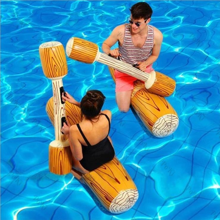 Bộ 2 Phao Bơi GỖ THỦY CHIẾN Khổng Lồ 180cm Và 2 Tay Chèo, Phao Bơi Chất Liệu PVC Cao Cấp - POKI Giảm Duy Nhất Hôm Nay
