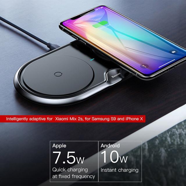 Hình ảnh Đế sạc nhanh không dây kép sạc 2 máy cùng một lúc công xuất 10W thông minh chuẩn Qi cho iphone X , iphone 8,Samsung S9, Note8 đến từ Hãng Baseus WXXHJ