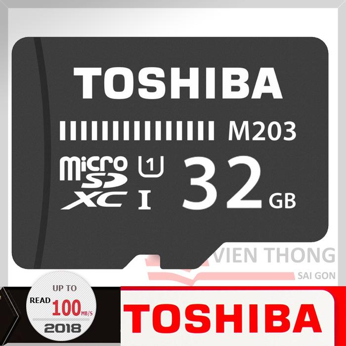Thẻ nhớ 32gb tốc độ cao Up to 100MB/s Toshiba Micro SDHC Class10 UHS (đen)