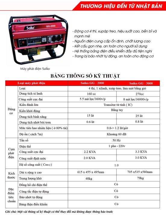 Máy phát điện gia đình 2.2kw  Saiko G2000