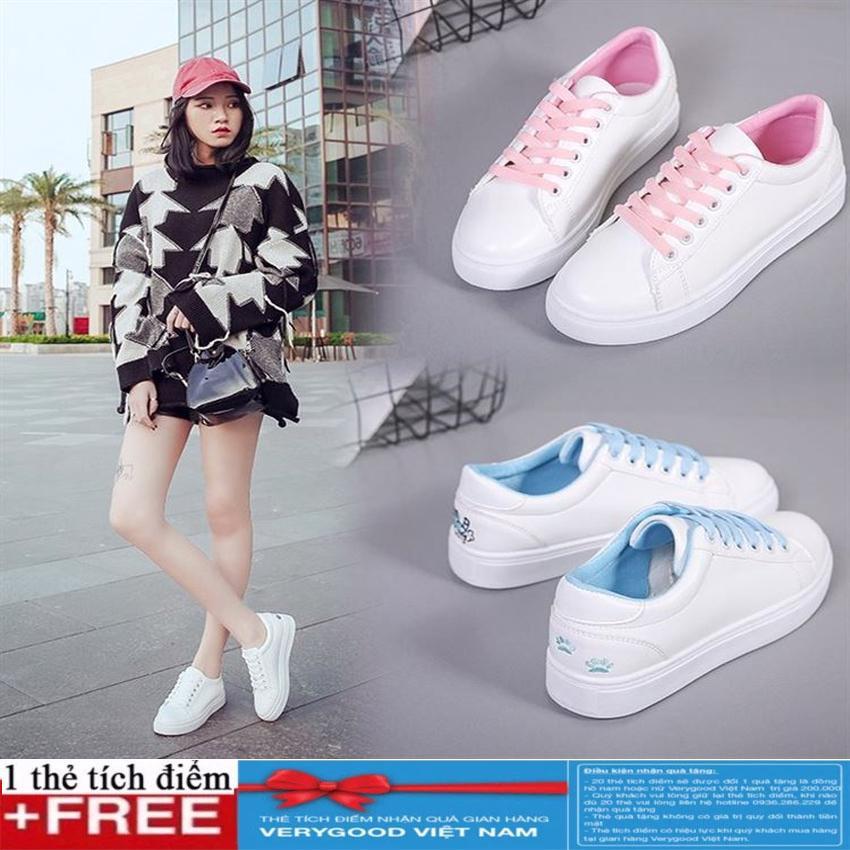 Hình ảnh Giày Sneaker- giày thể thao Nữ thêu hình mèo cute + Thẻ Verygood