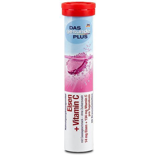 Hộp Viên sủi bổ sung vitamin tổng hợp Das Gesunde Plus – Eisen + Vitamin c , 20 viên chính hãng