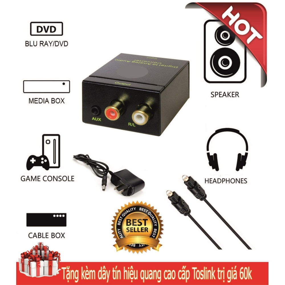 Hình ảnh Bộ chuyển đổi âm thanh quang tivi 4K (Optical), Coaxial sang audio L/R (Dàn âm thanh hoặc Amply) hoặc AUX (Tai nghe) nguồn adater, âm thanh rất to