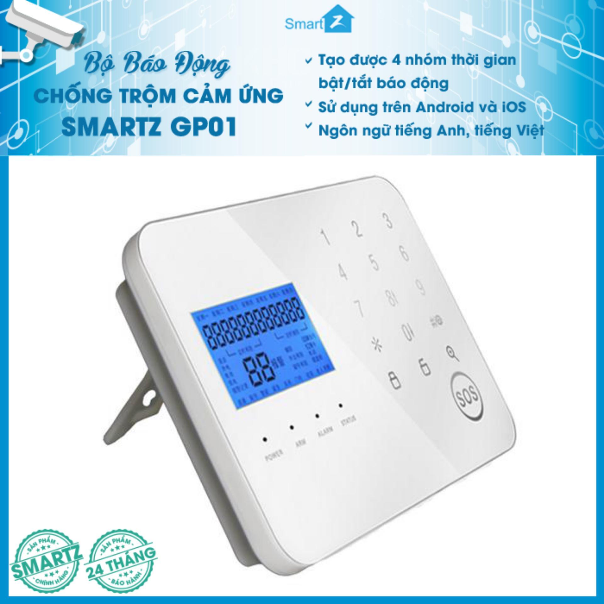 Hệ Thống Báo Động Chống Trộm GSM + PSTN SmartZ GP01 phím cảm ứng 433Mhz - HÃNG PHÂN PHỐI ĐỘC QUYỀN