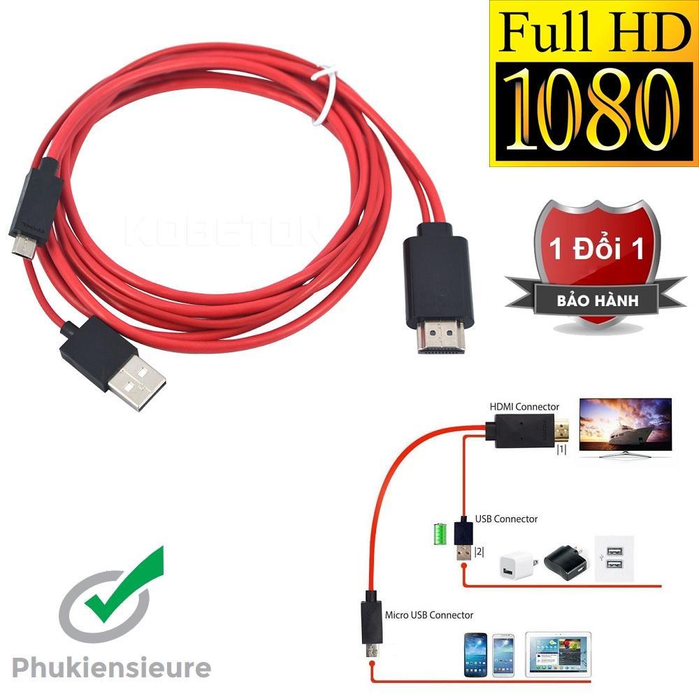 Cáp chuyển đổi MHL sang HDMI HDTV đen phối đỏ