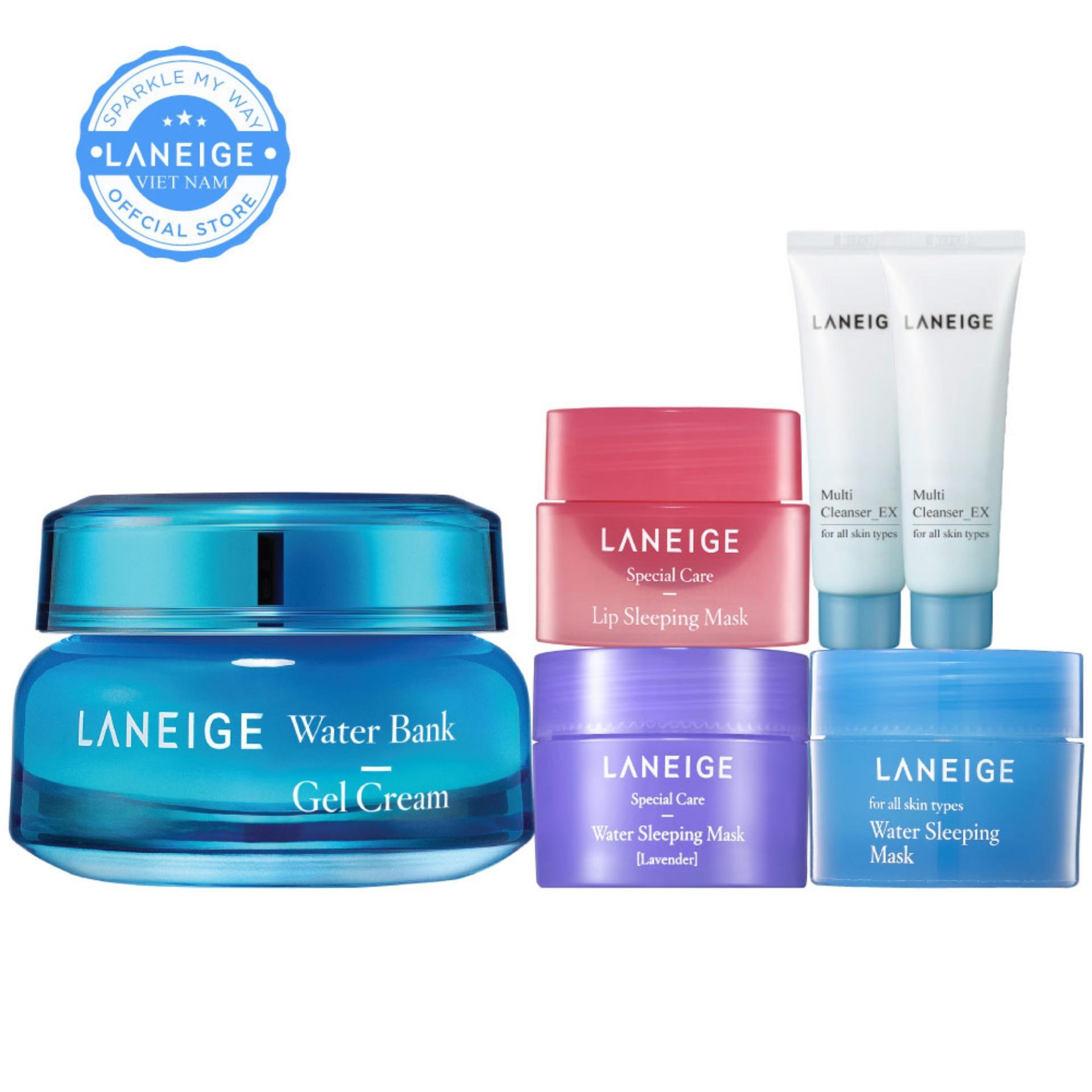 Kem dưỡng ẩm dạng gel Laneige Water Bank Gel Cream 50ml + Tặng bộ bộ quà tặng Sleeping Care Good Night Kit