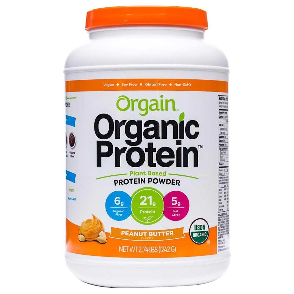 Bột đạm Protein thực vật hữu cơ Orgain vị bơ đậu phộng 1242g